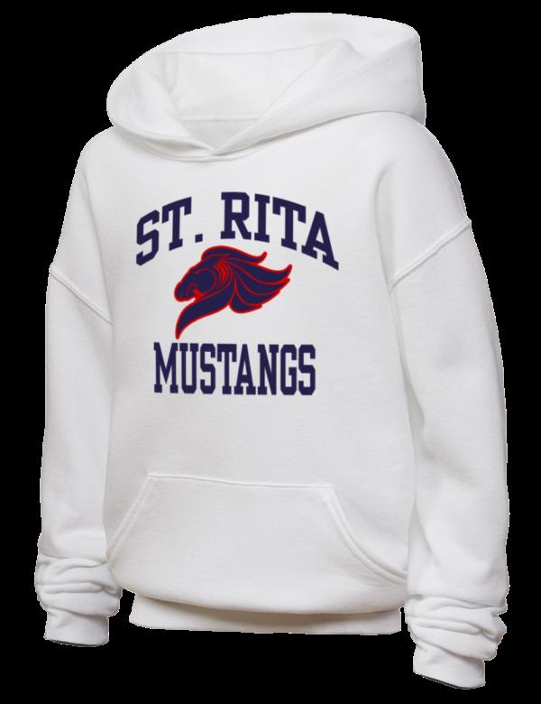 St Rita Of Cascia High School Mustangs Jerzees Youth Hooded Sweatshirt Prep Sportswear