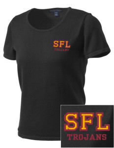 Sandhills Farm Life Elementary School Trojans Embroidered Women's Fine-Gauge Scoop Neck Sweater
