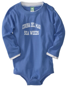 Corona Del Mar Junior High School Sea Weeds  Baby Long Sleeve 1-Piece with Shoulder Snaps