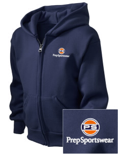 Prep Sportswear  Embroidered Kid's Full Zip Hooded Sweatshirt