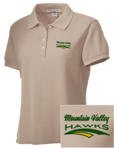 Mountain Valley Academy Hawks Embroidered Women's Performance Plus Pique Polo