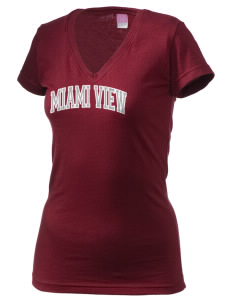 Miami View ElementaryMiddle School (II) Trojans Juniors' Fine Jersey V-Neck Longer Length T-shirt