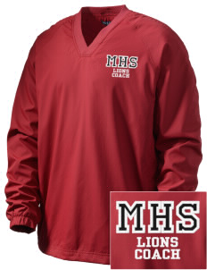 Munford High School Lions Embroidered Men's V-Neck Raglan Wind Shirt