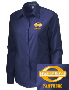 Cathedral Grade School Panthers Embroidered Women's Easy-Care Shirt