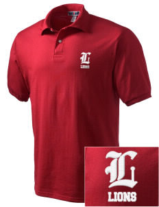 Kerman High School Lions Embroidered Men's Jersey Polo