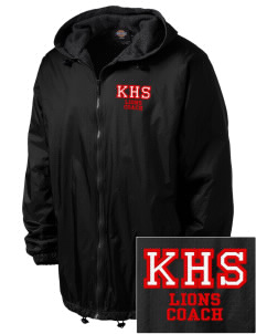Kerman High School Lions Embroidered Dickies Men's Fleece-Lined Hooded Jacket