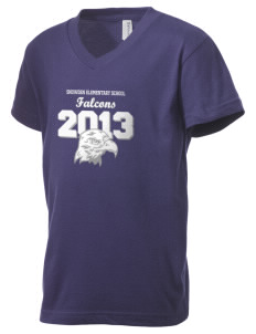 Snowden Elementary School Falcons Kid's V-Neck Jersey T-Shirt
