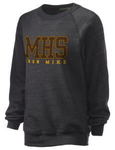 McCorristin Catholic High School Iron Mike Unisex Alternative Eco-Fleece Raglan Sweatshirt with Distressed Applique