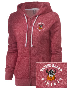 Sacred Heart School Vikings Embroidered Women's Marled Full-Zip Hooded Sweatshirt