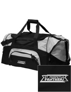 St. Perpetua Catholic School Panthers Embroidered Colorblock Duffel Bag