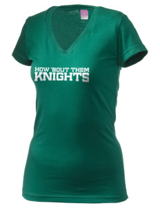 Saint Patrick School Knights Juniors' Fine Jersey V-Neck Longer Length T-shirt