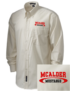 McAlder Elementary School Mustangs  Embroidered Men's Easy Care, Soil Resistant Shirt