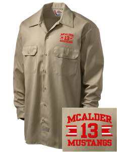 McAlder Elementary School Mustangs Embroidered Dickies Men's Long-Sleeve Workshirt