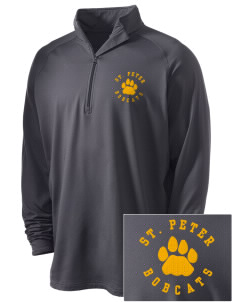 Saint Peter School Bobcats Embroidered Men's Stretched Half Zip Pullover