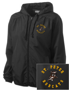 Saint Peter School Bobcats Embroidered Women's Hooded Essential Jacket