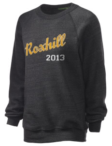 Roxhill Elementary School Stars Unisex Alternative Eco-Fleece Raglan Sweatshirt with Distressed Applique