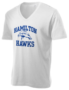 Hamilton Middle School Hawks Alternative Men's 3.7 oz Basic V-Neck T-Shirt