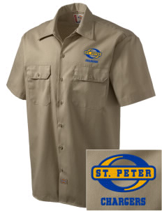 Saint Peter School Chargers Embroidered Dickies Men's Short-Sleeve Workshirt