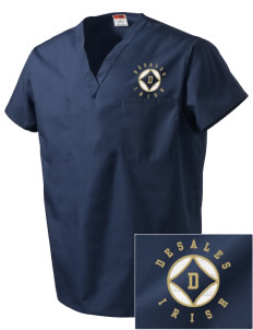 DeSales Catholic High School Irish Embroidered V-Neck Scrub Top