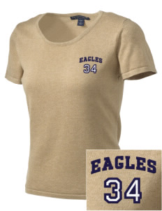 Deerfield Christian Academy Eagles Embroidered Women's Fine-Gauge Scoop Neck Sweater