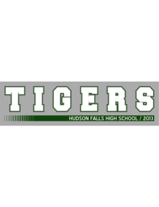 "Hudson Falls Central School Tigers Bumper Sticker 11"" x 3"""