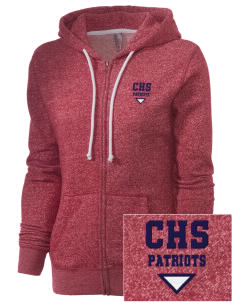Christian Senior High School Patriots Embroidered Women's Marled Full-Zip Hooded Sweatshirt