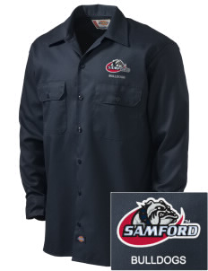 Samford University Bulldogs Embroidered Dickies Men's Long-Sleeve Workshirt