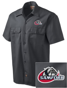 Samford University Bulldogs Embroidered Dickies Men's Short-Sleeve Workshirt