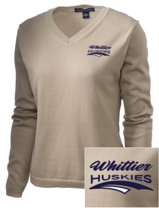 Whittier Elementary School Huskies Embroidered Women's V-Neck Sweater