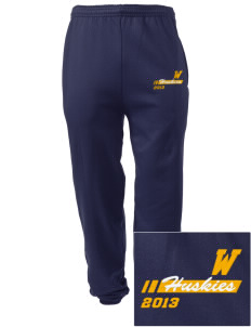 Whittier Elementary School Huskies Embroidered Men's Sweatpants with Pockets