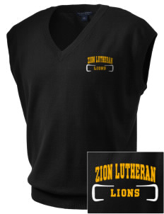 Zion Lutheran School Lions Embroidered Men's Fine-Gauge V-Neck Sweater Vest