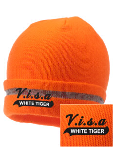 V.I.S.A White Tiger  Embroidered Safety Beanie with Reflective Stripe
