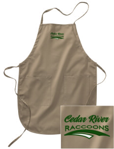 Cedar River School Raccoons Embroidered Full Length Apron