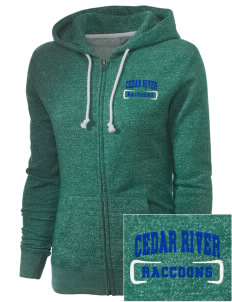 Cedar River School Raccoons Embroidered Women's Marled Full-Zip Hooded Sweatshirt
