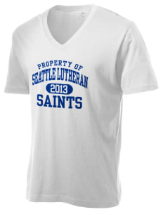 Seattle Lutheran High School Saints Alternative Men's 3.7 oz Basic V-Neck T-Shirt