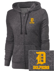 Soundview Private School Dolphins Embroidered Women's Marled Full-Zip Hooded Sweatshirt