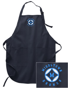 Middltown Middle School bronco Embroidered Full-Length Apron with Pockets