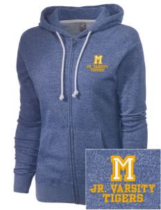 Monroeville Elementary School Tigers Embroidered Women's Marled Full-Zip Hooded Sweatshirt