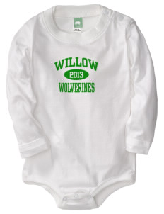 Willow Elementary School Wolverines  Baby Long Sleeve 1-Piece with Shoulder Snaps
