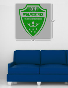 "Willow Elementary School Wolverines Wall Poster Decal 36"" x 36"""