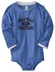Indian Trails Middle School Mustang  Baby Long Sleeve 1-Piece with Shoulder Snaps