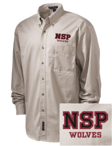 Normatives Services Prep School Wolves Embroidered Tall Men's Twill Shirt