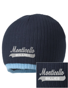 Monticello High School Billies Embroidered Champion Striped Knit Beanie