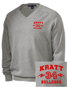 Kratt Elementary School Bulldogs Embroidered Men's V-Neck Sweater