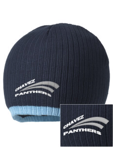 Chavez Elementary School Panthers Embroidered Champion Striped Knit Beanie
