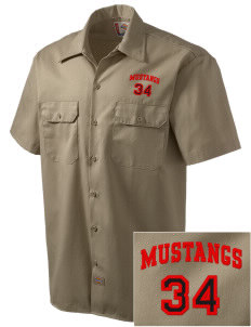 Mulberry Elementary School Mustangs Embroidered Dickies Men's Short-Sleeve Workshirt