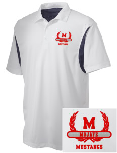 Mojave High School Mustangs Embroidered Men's Back Blocked Micro Pique Polo