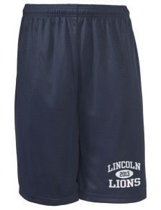 "Lincoln Elementary School Lions Long Mesh Shorts, 9"" Inseam"