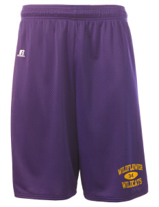 "Wildflower Elementary School Wildcats  Russell Deluxe Mesh Shorts, 10"" Inseam"
