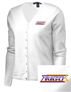 Heliotrope Elementary School Rams Embroidered Women's Stretch Cardigan Sweater